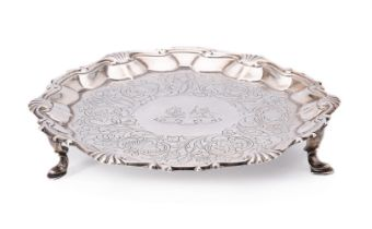A George II silver shaped circular waiter