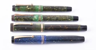 Parker, Duofold, four marbled fountain pens