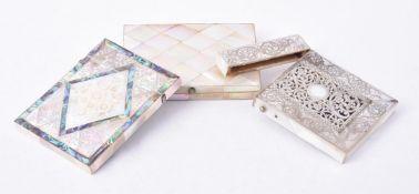 Y Three Victorian mother of pearl veneered rectangular card cases