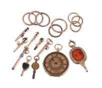 Unsigned, Gold coloured open face pocket watch, no. 99327