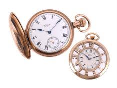 Waltham, Gold plated keyless wind full hunter pocket watch