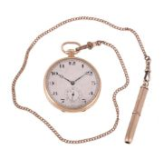 Unsigned, 9 carat keyless wind open face pocket watch