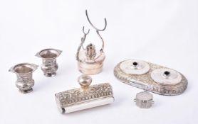A Pakistani silver mounted two piece desk set