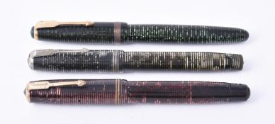 Parker, Vacumatic, three striped fountain pens