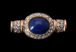A diamond and blue paste brooch