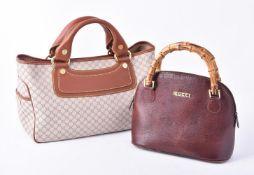 Celine, Boogie, a logo fabric and brown leather handbag