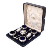 A matched silver seven piece cruet set by Jay, Richard Attenborough Co. Ltd