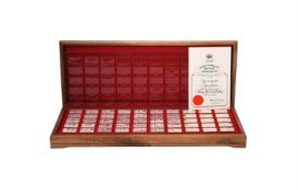 1000 Years of British monarchy, no. 0575, a set of 50 silver ingot type medals by John Pinches Medal