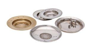 Five silver small circular dishes