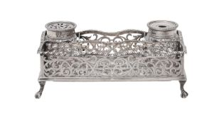 A silver rectangular ink stand by Robert Frederick Fox