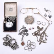 A small collection of silver coloured and other jewellery