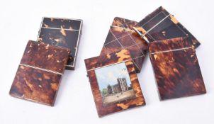 Y Six Victorian tortoiseshell veneered rectangular card cases