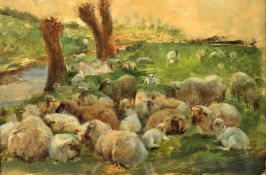 Henry William Banks Davis R.A. (British 1833-1914) 'A flock of sheep in a water meadow'