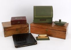 Pen and writing related items to include a 19th century rectangular hardwood travel desk
