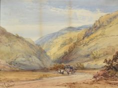 William Callow (British 1812-1908), 'Travellers in a mountainous landscape'