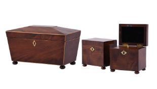 A pair of mahogany rectangular tea caddies