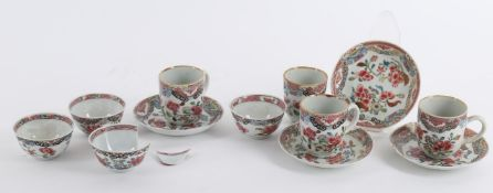 Four 18th century Chinese famille rose tea bowls