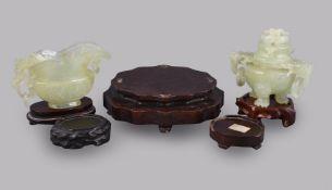 A Chinese celadon jade tripod incense burner