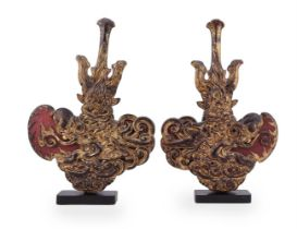 A pair of giltwood finials/pagoda sections