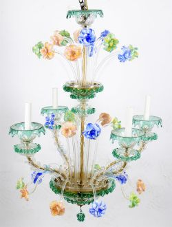 A coloured and clear glass 5 light chandelier