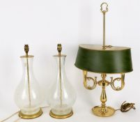 A pair of modern brass mounted crackle glaze glass lamps