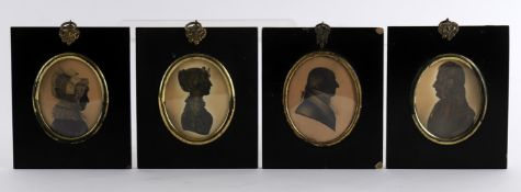 A group of four early 19th century portrait silhouettes