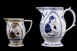 A Staffordshire pearlware blue and relief-moulded jug