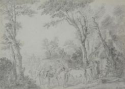Attributed to Jean Louis De Marne (Belgian 1754-1829), 'A country lane with figures and animals'