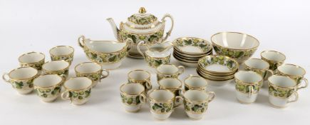 A Flight & Barr Worcester 'Hop Leaf' pattern part tea service