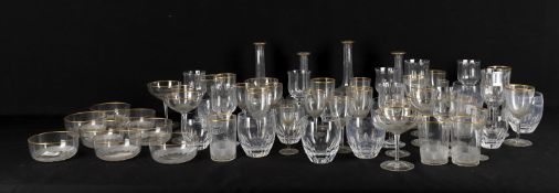 Glass to include a modern continental cut glass and gilt part table service