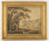 Four 19th century watercolour pictures to include R H Kemble 'Farmyard'