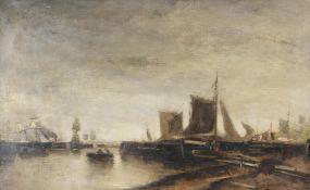 Follower of Jacob Henricus Maris 'Boats at harbour'