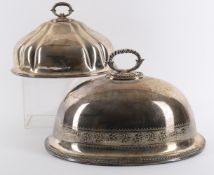 Two 19th century silver plate meat covers