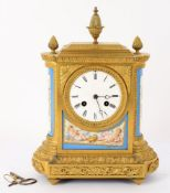 Jean Baptiste Delettrez- a late 19th century French gilt metal and porcelain mounted mantel clock