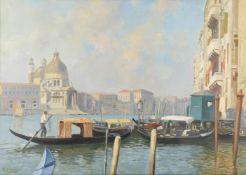 E Bianchini (20th century) Venice- Santa Maria della Salute seen from across the canal