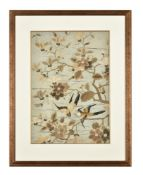 A framed and glazed Chinese silk panel depicting birds
