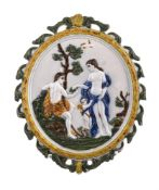 A Staffordshire pearlware wall-plaque of Pratt family type