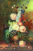 λ James Morar (21st century), 'Still life of flowers in a terracotta vase'