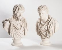 Two large modern resin 'marble' busts of Romans