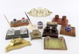 Pen and writing related items to include a 19th century Coalbrookdale style porcelain desk stand