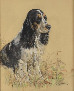 Kathleen Francis Barker (1901-1963) Two pastel portraits of Spaniels