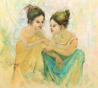 Contemporary Far East School 'Two girls'