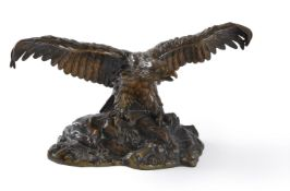 A French bronze animalier figure of an eagle