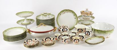 Ceramics assorted to include a part English tea set with imari style decoration; a French sugar bowl
