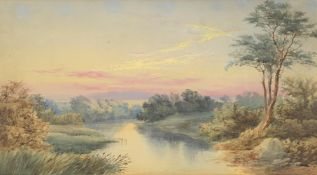 Attributed to Edmund J. Nieman (British 1813-1876), 'Landscape at sunset'