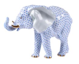 A modern Herend (blue fishscale) Elephant