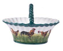 A Wemyss 'Brown Cockerel and Hens' egg basket