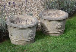 A composition stone fountain or bird bath