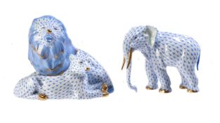 A group of modern Herend (Blue fishscale) animals