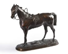 After Pierre Lenordez (1815-92), a patinated metal model of the racehorse 'Saucebox'